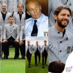 Nazionale Italiana di Calcio agli Europei 2021 con la divisa formale firmata Giorgio Armani, Enzo Bearzot allenatore degli Azzurri 1982