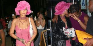 rihanna a new york con il fidanzato indossa un abito rosa trasparente dallo spacco inguinale