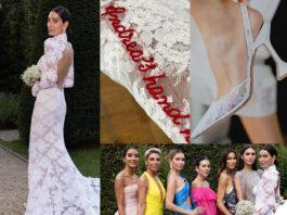 Giorgia Gabriele abito da sposa OffWhite scarpe Amina Muaddi look invitate vip alle nozze