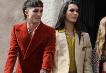 Maneskin Roma outfit Gucci Damiano nuovo haircut Ethan