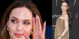 Angelina Jolie The Eternals abito Balmain chin cuff Nina Berenato gioiello mento