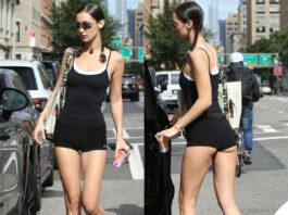 Bella Hadid shorts Alo Yoga top Fitology sneakers Adidas x Prada