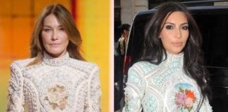 Carla Bruni Kim Kardashian abito Balmain
