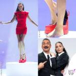 Elodie monologo Le Iene vestito scarpe rosse Versace Nicola Savino